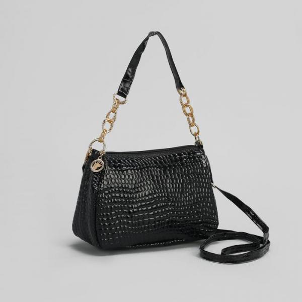 Сумка женская на молнии, 1 отдел, 1 наружный карман, длинный ремень, цвет чёрный
