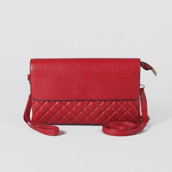 Клатч женский на молнии, 3 отдела, наружный карман, с ручкой, длинный ремень, цвет красный
