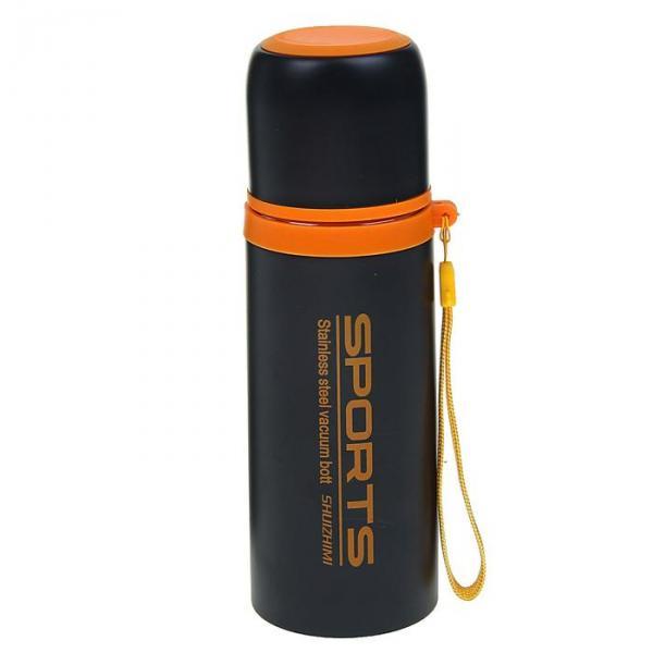 Термос спортивный, 350 мл, 12 ч, чёрно-оранжевый