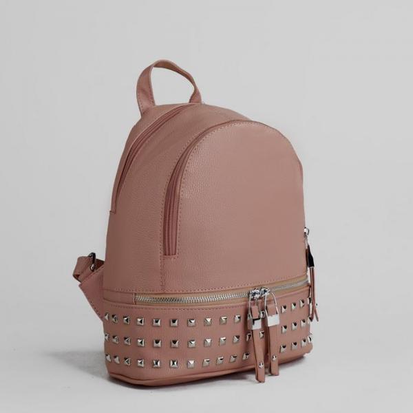 Рюкзак с 2 отделами на молниях, наружный карман, цвет розовый