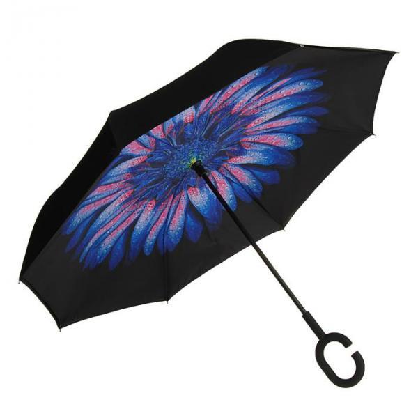 """Зонт наоборот """"Цветок"""", механический, R=56см, цвет синий/чёрный"""