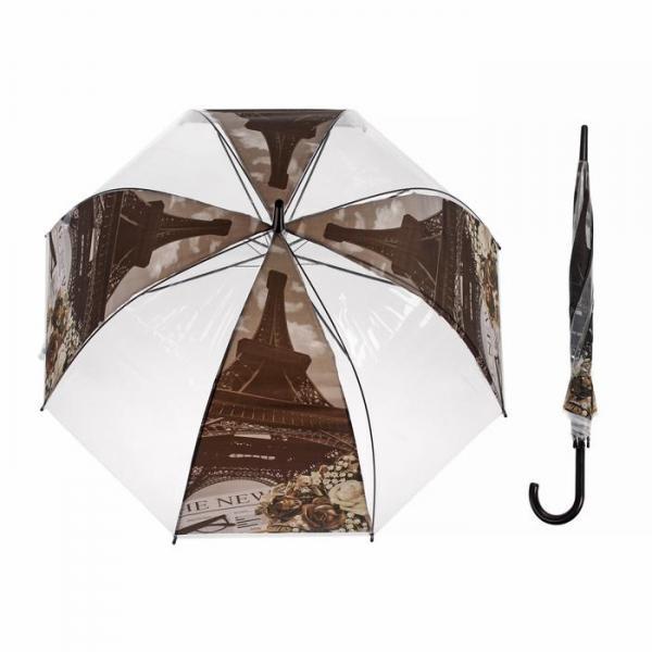 """Зонт-трость """"Эйфелева башня"""", полуавтоматический, R=41см, цвет коричневый"""