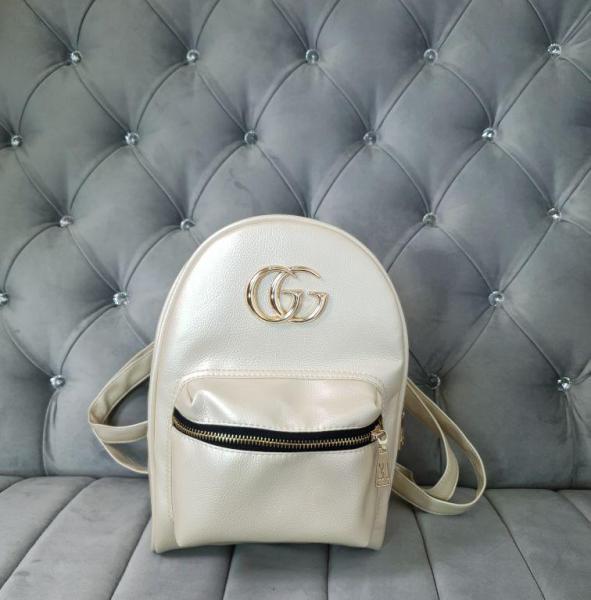 Рюкзакв стиле GG Gucci копия кремовый