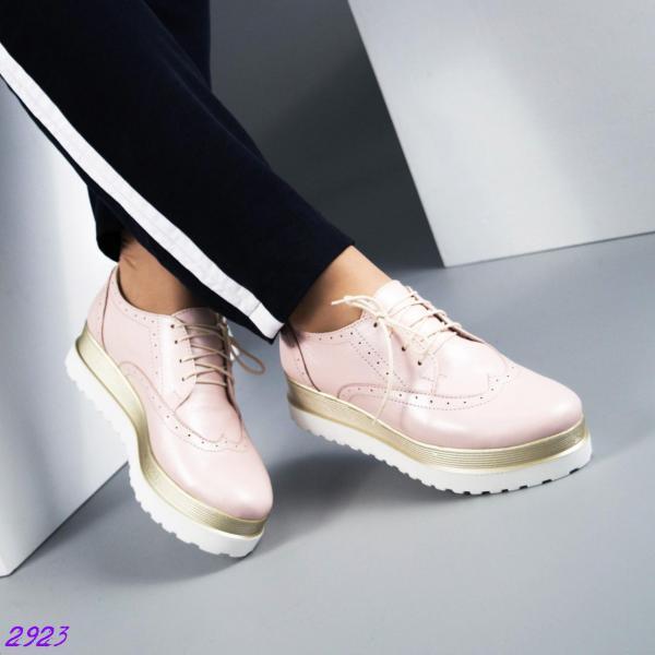 Туфли-оксфорды на толстой подошве. Цвет- пудра