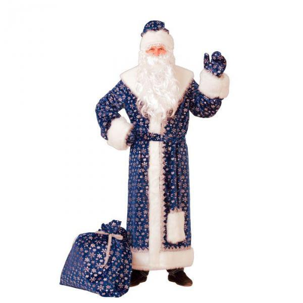 Карнавальный костюм Дед Мороз плюш синий взрослый