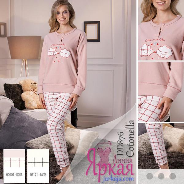 Пижама женская флис. Домашняя одежда для женщин Cotonella™ молочный (latte), S