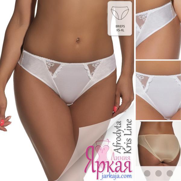 Трусы женские Kris Line™. Трусики-слипы белые с вышивкой. Польское нижнее белье Крис Лайн