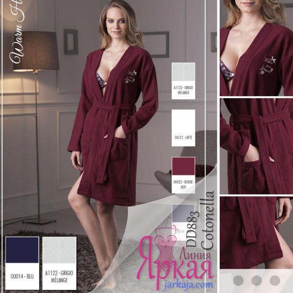 Халат женский домашний флис. Домашняя одежда для женщин Cotonella™ синий (blu), XL