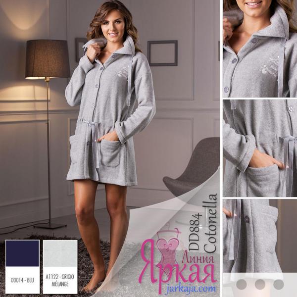 Халат женский домашний флис. Домашняя одежда для женщин Cotonella™ серый меланж (grigio melange), S