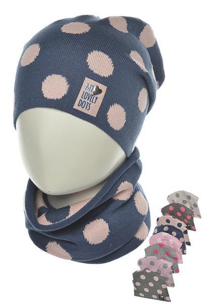 Детские шапки для девочек. Набор шапочка-бини + шарф-снуд 36AJS060 Польша