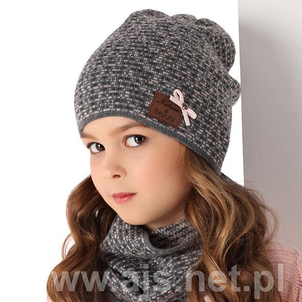 Детские шапки для девочек. Набор шапочка-бини + шарф-снуд 36AJS091 Польша Наличие цвета уточняйте
