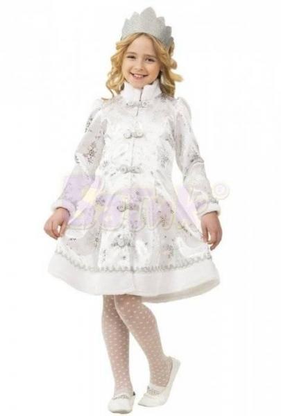 Карнавальный костюм Снегурочка сатин белый детский
