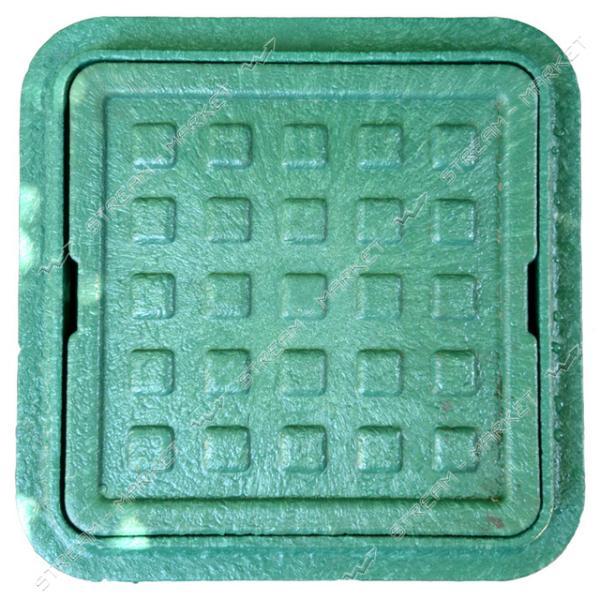 Люк квадрат полимерпесчаный зеленый (крышка 300*300мм, выс.80мм. юбка 360*360мм.)