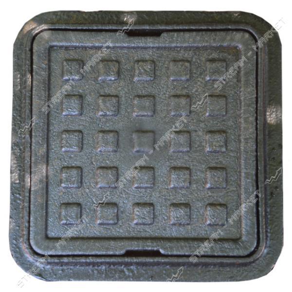 Люк квадрат полимерпесчаный черный (крышка 300*300мм, выс.80мм. юбка 360*360мм.)