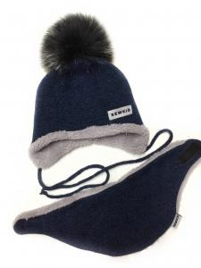 Фото Шапки, перчатки, наушники, шарфы ЗИМА. Шапка + шарф мальчику 48-50рр