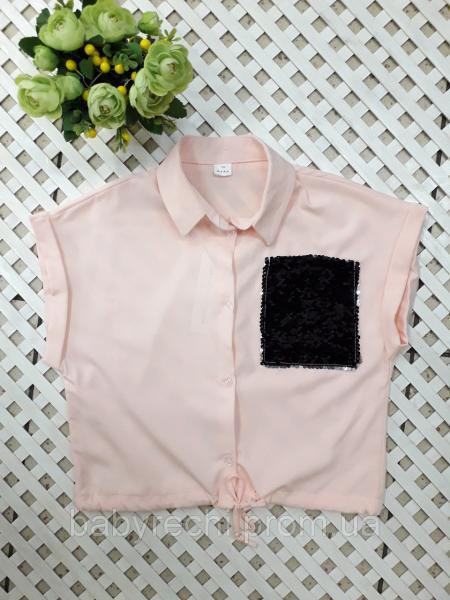 Укороченная блузка с карманом с пайеток на рост 134-152 см