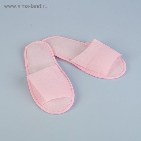 """Тапочки из спанбонда """"Эконом"""", подошва 4мм., розовые, 42р."""