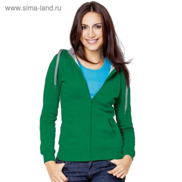 Толстовка женская StanStyle, размер 52, цвет зелёный-серый меланж 280 г/м