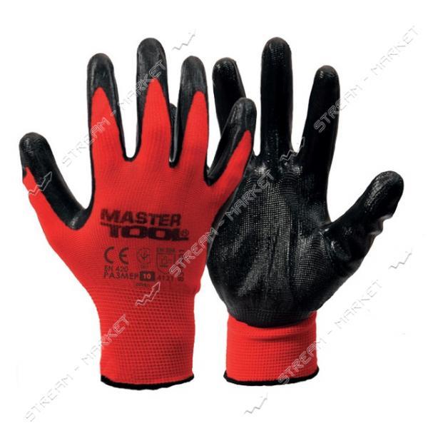 Перчатки MASTERTOOL 83-0401 трикотажные бесшовные с покрытием ладони красно-черные 10 40-42г