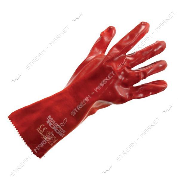 Перчатки MASTERTOOL 83-0502-B кислотостойкие х/б трикотаж манжет крага красные 350мм 10.5