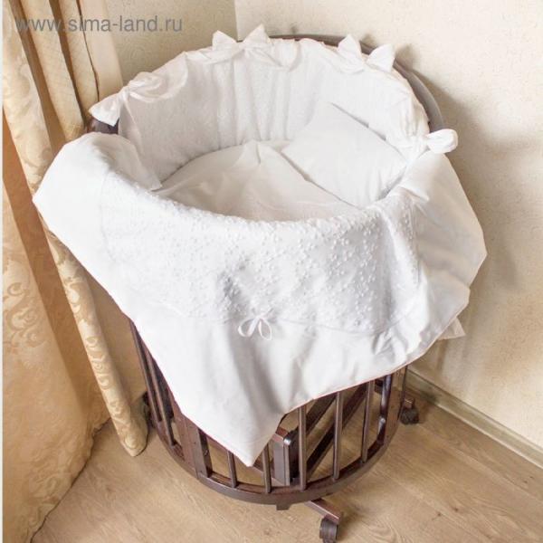 """Комплект в круглую кроватку 11 предметов """"Грациозо"""", цвет белый"""