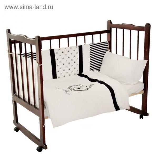 """Комплект в кроватку """"Для принца"""" (6 предметов), цвет синий 10015"""