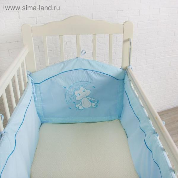 """Бампер в кроватку """"Ручеёк"""", цвет голубой 30302"""