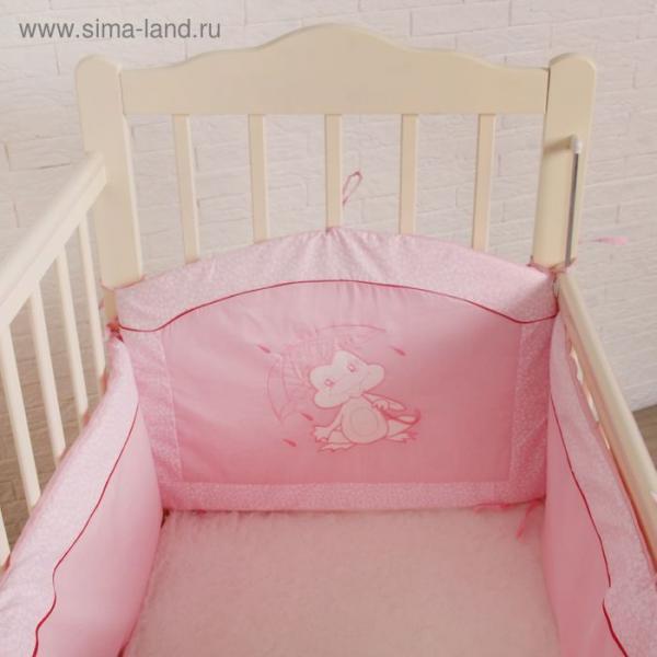 """Бампер в кроватку """"Ручеёк"""", цвет розовый 30305"""