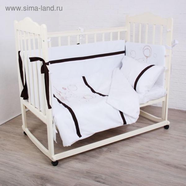 """Комплект в кроватку (4 предмета) """"Шоколадный мишка"""", цвет белый"""