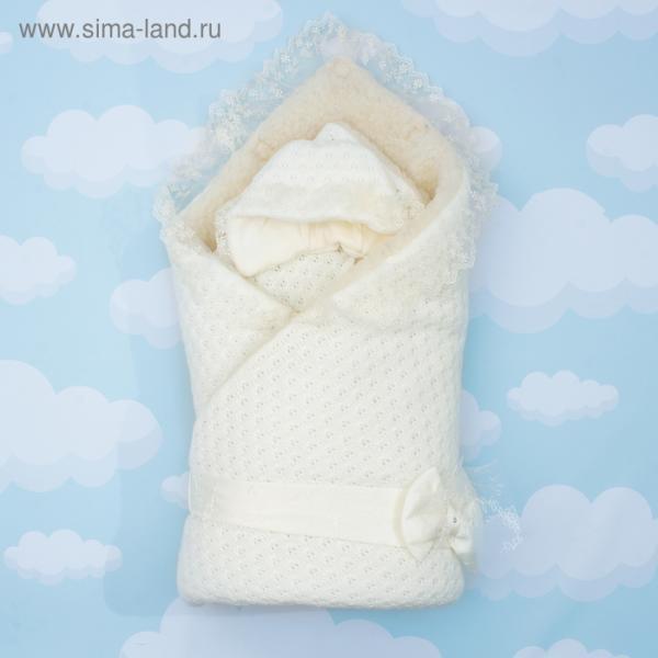 """Конверт-одеяло """"Жемчужинка"""" 90х90, цв молочный, акрил100, ш80пэ20, синтепон 200гм 1709М"""