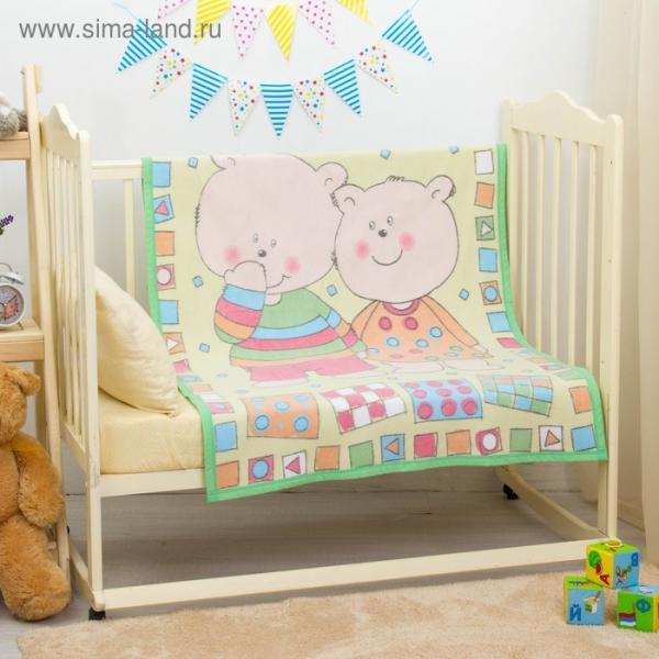 """Одеяло байковое """"Два медведя"""", размер 100х140 см, цвет жёлтый, хл100% 390 г/м D311511"""