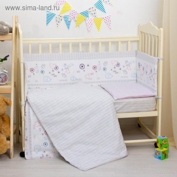 """Комплект в кроватку """"Ёжики"""", 6 предметов, цвет белый, хл100% 125 г/м H613-01"""