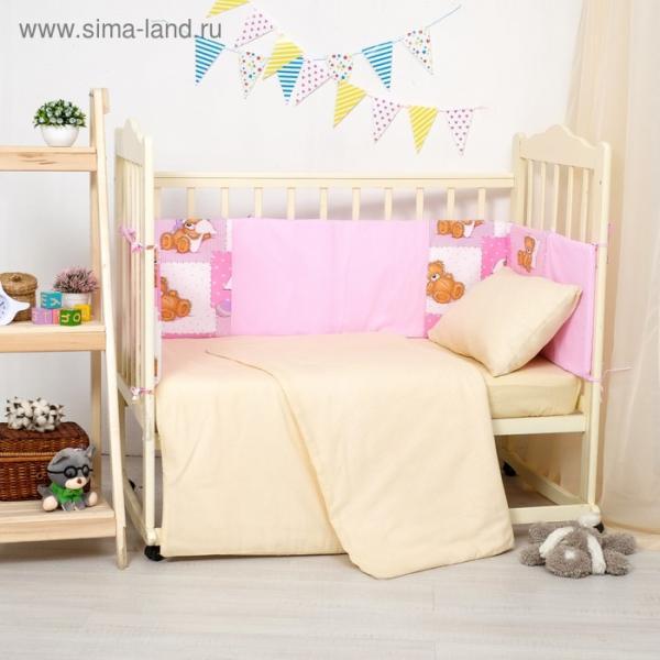 Бортики в кроватку 60x120 см мишки на розовом, горошек на розовом, ППУ, хл 100%, бязь 140г/м   28697