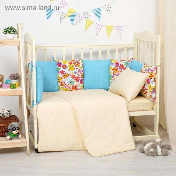 Бортики в кроватку 60x120 см совы яркие с горошком на голубом, хл 100%,  бязь 140г/м