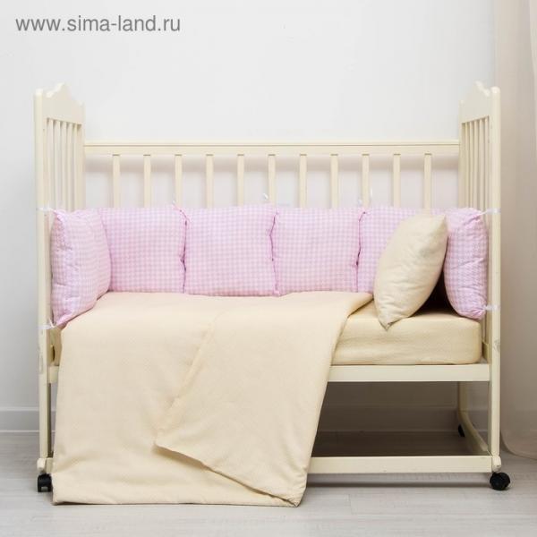 Бампер-подушка Клетка розовая 40х40см 9шт, поплин 125гр/м хл