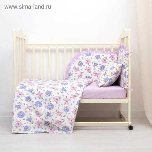 Комплект в кроватку (4 предмета), диз. мышки балеринки/горошек на фиолетовом