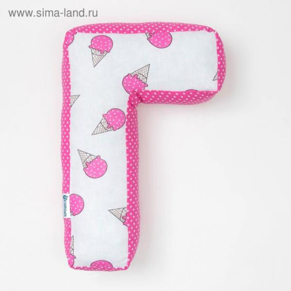 "Мягкая буква подушка ""Г"" 35х21 см, розовый, 100% хлопок, холлофайбер"