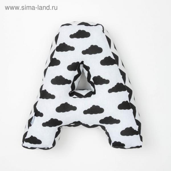 """Мягкая буква подушка """"А"""" 35х34 см, белый, 100% хлопок, холлофайбер"""