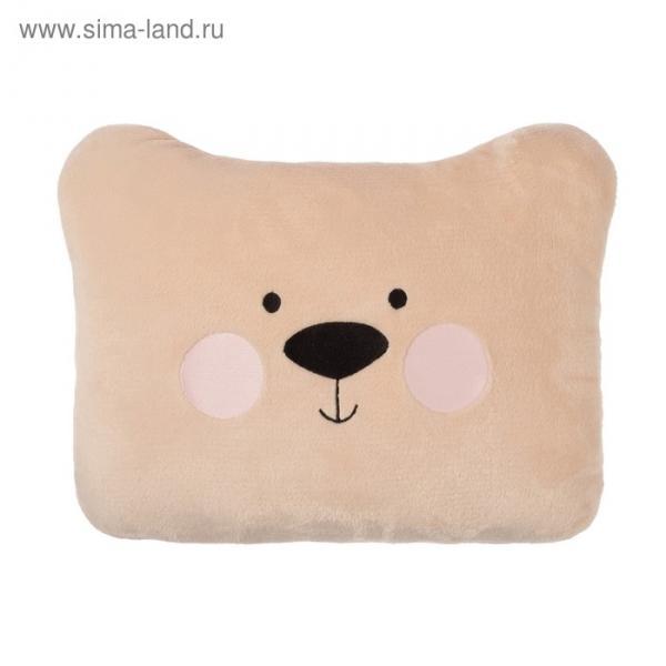 """Подушка """"Этель"""" Медведь бежевая, 100% П/Э, велсофт"""