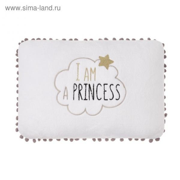 "Подушка ""Этель"" Принцесса белая, р-р 40 х 30 см, 100% П/Э, велсофт"