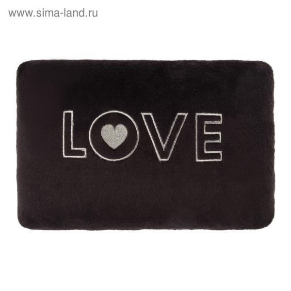 "Подушка ""Этель"" LOVE чёрная, р-р 40 х 30 см, 100% П/Э, велсофт"