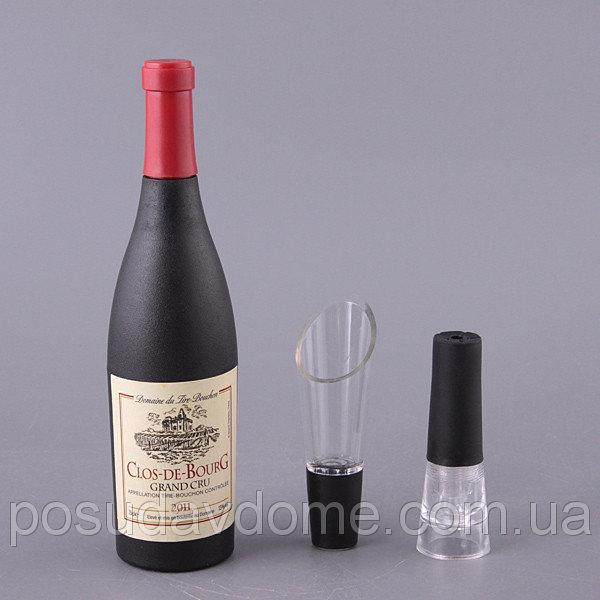 """Набор для вина """"Подарочный"""" 3 предмета (штопор,пробка, дозатор), 752-006"""