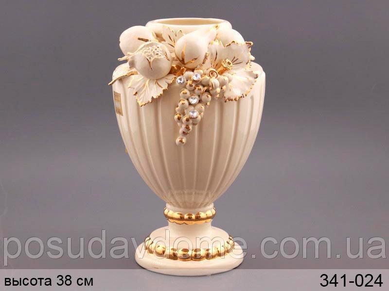 Ваза декоративная с фруктами кремовая, 38 см, STELLA, 341-024
