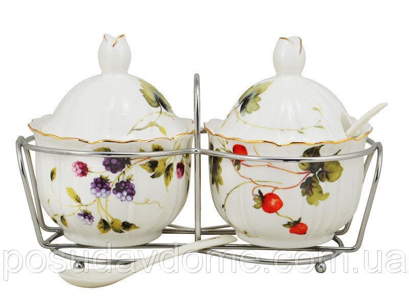 Набор баночек для соучов на подставке с ложечками Lefard Лесная ягода, 943-050