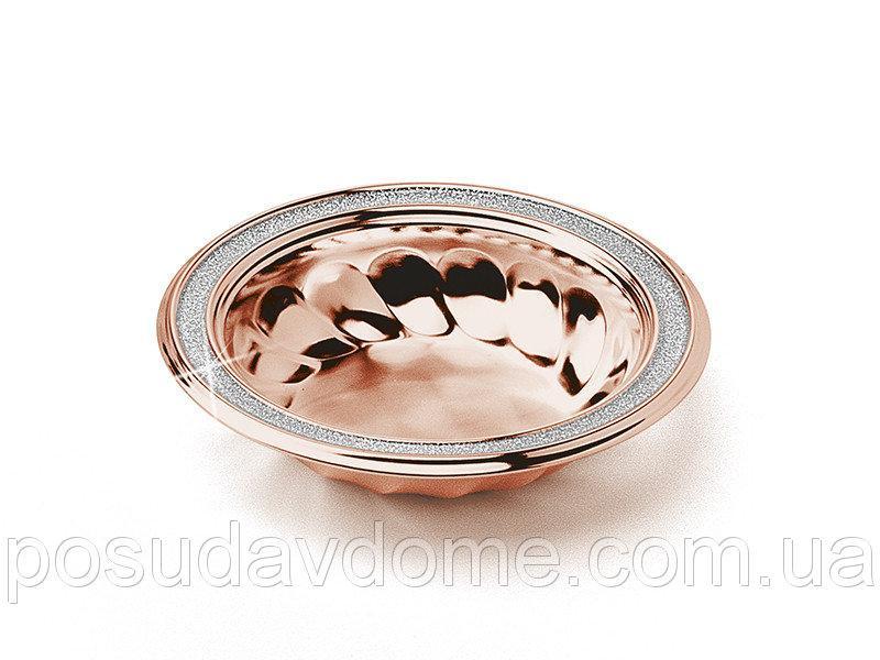 Конфетница диам 13см розовое золото с глиттером, Gamma, 336-052