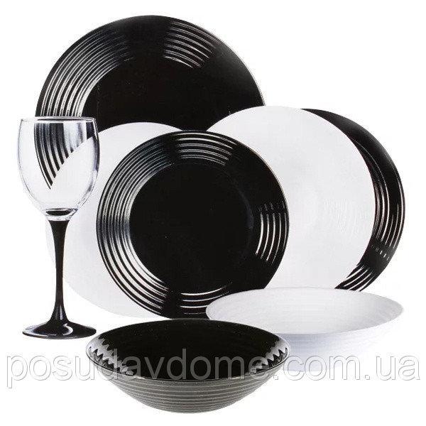Столовый сервиз Luminarc Harena Black & White 24 пр. N2243