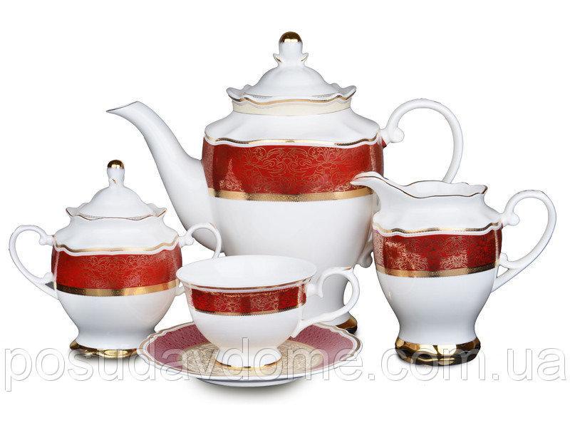 Чайный сервиз Lefard Красный Ажур 15 предметов , 586-320