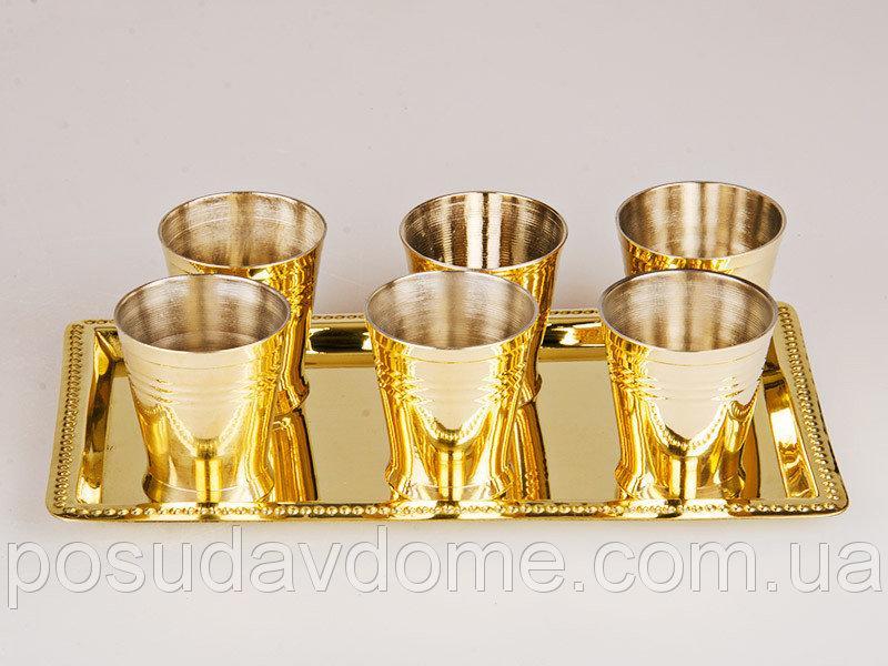 Набор рюмок из 6 шт Sri Ram Exports на подносе  5,5 см., 100 мл, 878-033