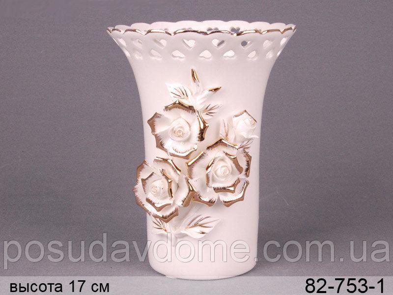 Ваза Lefard Белые розы 17 см, 82-753-1