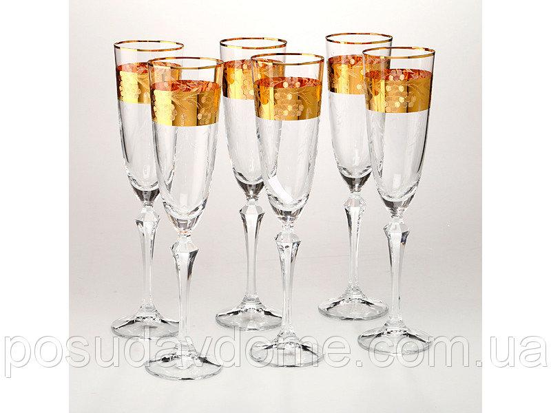 Набор бокалов для шампанского из 6 шт Crystalex 220 мл, 674-120
